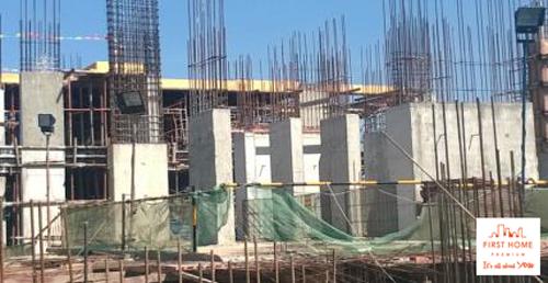 Bê tông cột tầng 1 sau khi đổ bê tông trục (11-14-C-M), Khối 1