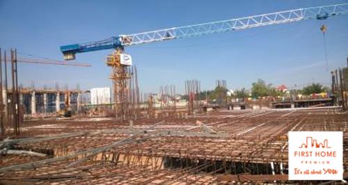 Lắp dựng sắt cho dầm sàn tầng 1 tại trục 10-12-A-F - Khối 2